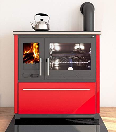 EEK A+ Küchenofen Holzherd Plamen 850 rot, rechte Version - 8 kW Dauerbrandherd