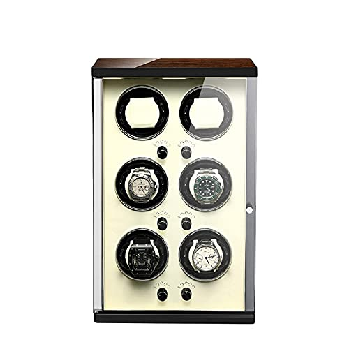 Enrollador de 6 relojes 5 modos de rotación para relojes automáticos Enrollador de relojes Soporte de caja Pantalla Mecánica automática Almohada de felpa flexible Motores silenciosos Diseño antimagnét