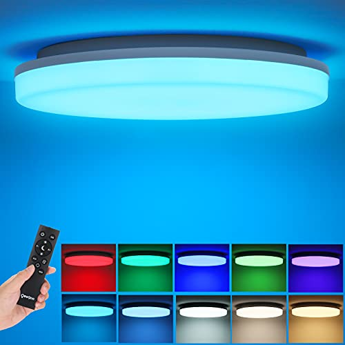 Oeegoo RGB Dimmable LED Flush Mount Ceiling Light with Remote, 3000K-6500K Adjustable, 36W 13Inch Modern Round Close to Ceiling Light Fixtures for Bedroom/Kitchen/Living Room, 7 RGB Colors Changing