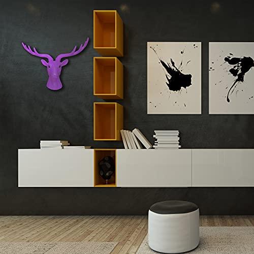 Walplus 43 X 26.5 11.8 cm Tête Cerf Animal Manteau Support Mural Autocollants Art Maison Décoration Salon Chambre Bureau Décor DIY, Violet