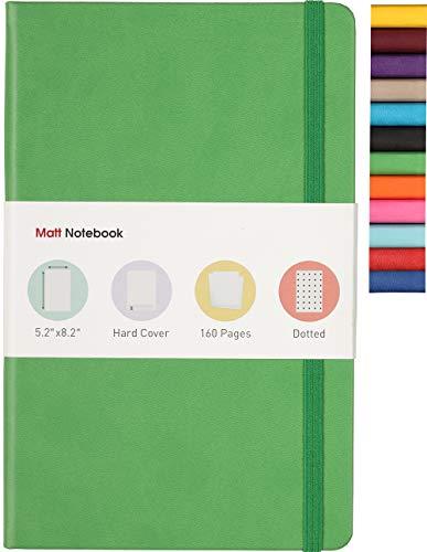 Matt Notebook classico per scrittura, dimensioni: 13 x 21 cm, A5, 160 pagine, copertina rigida in pelle sintetica di alta qualità con 12 colori diversi, tasca interna, carta di qualità Dotted Verde