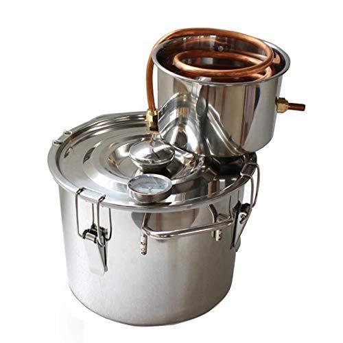 JIXIN Destilador De Alcohol De Agua Sin Gas De Moonshine De Acero Inoxidable, Kit De Elaboración De Vino Casero,2 gallons/8l