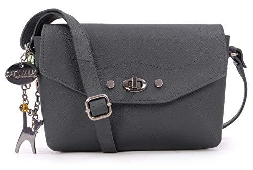 Catwalk Collection Handbags - Leder - Klien Umhängetasche/Schultertasche - FLORENCE - Schwarz