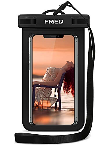 FRiEQ Waterproof Case For Outdoor Activities - Waterproof Bag/Pouch For iPhone X/8/8plus/7/7plus/6s/6s plus/Samsung Galaxy S9/S9 Plus - IPX8 Certified To 100 Feet (Black)