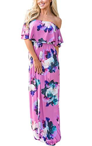 Umeko Maxi Vestido Largo con Bolsillos para Mujer, con Volantes y Cintura Alta, con Hombros Descubiertos, Estilo Casual - - Small