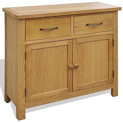 vidaXL Solid Oak Wood Sideboard Storage Cabinet Cupboard 2 Doors 2 Drawers
