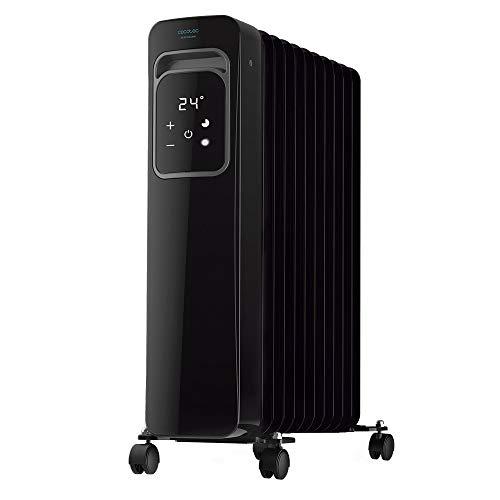 Cecotec Radiador Eléctrico de Aceite Ready Warm 11000 Touch Black Bajo Consumo, 11 Elementos, 2500 W, 3 Modos de funcionamiento, Pantalla LCD, Control Táctil, Temporizador 9h, Ruedas, 25 m2