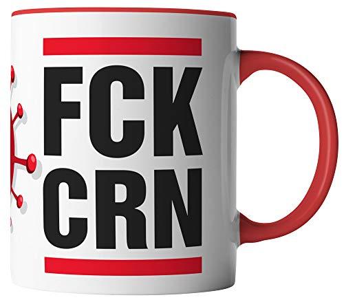 vanVerden Tasse - FCK CRN - Coronavirus 2020 COVID-19 - beidseitig Bedruckt - Geschenk Idee Kaffeetassen mit Spruch, Tassenfarbe:Weiß/Rot