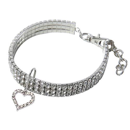 Balacoo Strass Hundehalsbänder - Herzmuster Kristall Hundekette - Bling Hund Hochzeitshalsband für kleine mittelgroße Hunde