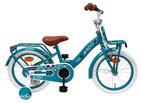 AMIGO Bloom - Bicicletta Bambini - 16'' (per 4-6 Anni) - con stabilizzanti - Turchese