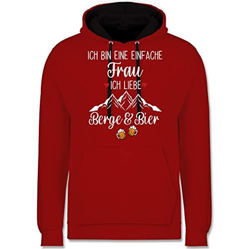 Après Ski - Ich bin eine einfache Frau, Ich liebe Berge und Bier - L - Rot/Schwarz - Ich bin eine einfache Frau, Ich liebe Berge - JH003 - Hoodie zweifarbig und Kapuzenpullover für Herren und Damen