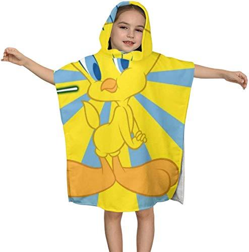 zhenglongbaihuodian Twe-ety Bird Premium Strandtuch mit Kapuze für Kinder Jungen Mädchen 2 bis 7 Jahre, schnell trocknende Bad- / Badetücher Super Absorbent Hooded Poncho , 23,7 x 23,7 Zoll