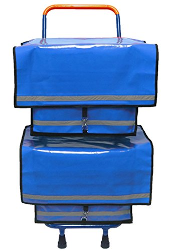 Zeitungsroller Zeitungswagen Multi 2 mit Zwei blauen beschichteten Zeitungstaschen aus LKW-Plane, 150 kg Belastbarkeit des Rollers, Wasser- und Winddichte Taschen mit Klickverschluss, Zustellerbedarf