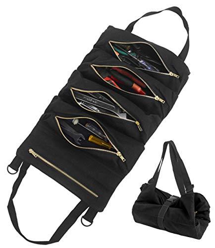 Werkzeugtasche mit 5 Reißverschlusstaschen | Kofferraumtasche Kofferraum Organizer Autotasche Tool Roll | Tragbare Reißverschlusstasche für Elektriker Klempner Zimmermann oder Mechaniker (Schwarz)