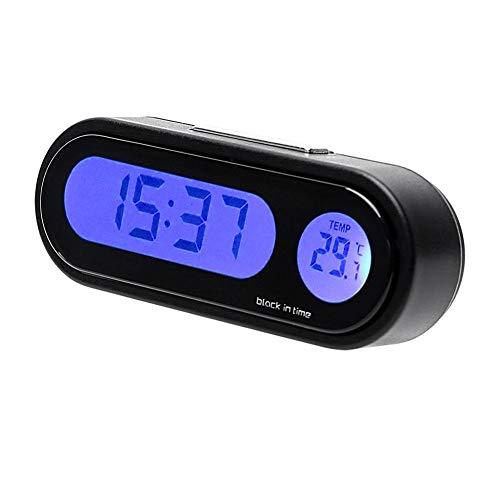 RUNGAO Digital LED Reloj de Coche Termómetro de 12 V con Luz de Fondo