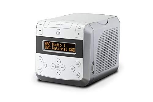 Roberts Sound48 DAB+ Radiowecker (DAB, UKW, Uhrenradio, Wecker mit Zwei einstellbaren Weckzeiten, CD-Player, Bluetooth, Snooze-Funktion, Sleeptimer, dimmbares Display, Kopfhöreranschluss) weiß