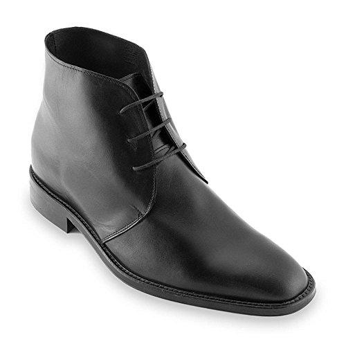 Zapatos de Hombre con Alzas Que Aumentan Altura hasta 7 cm. Fabricados en Piel. Modelo Lugano Negro 40