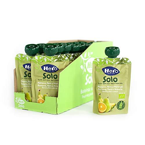 Hero Solo Bolsitas Ecológicas de Plátano, Pera y Naranja - Para Bebés a Partir de los 4 Meses - Pack de 18 x 100 g