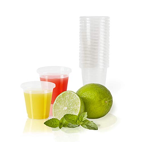 Plantvibes 100 x Bio Schnapsbecher, kompostierbar & CO2 neutral, kleine Plastikbecher aus PLA, stilvolle Shotgläser für Jelly Shots, Bio-Einweggeschirr, 30 ml