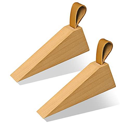 Door Stopper, Soild Beech Wood Doorstop Wedge, Non-Slip Door Stops Wedges, Sturdy and Durable Door Stop Wedge, Security Door Stopper with Leather Band for Hanging (2PCS)