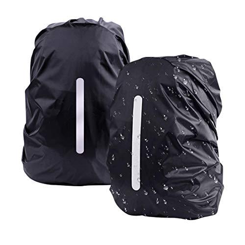 DFK Copertura Riflettente per Zaino, [2pacci M 26-40L] Impermeabile Zaino Copertura Antipioggia per Escursionismo Campeggio Ciclismo Nero