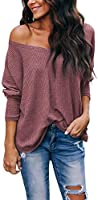 iGENJUN Women's Casual V-Neck Off-Shoulder Batwing Sleeve Pullover Sweater Tops