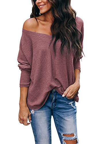 iGENJUN Women's Casual V-Neck Off-Shoulder Batwing Sleeve Pullover Sweater Tops,Brick red,M