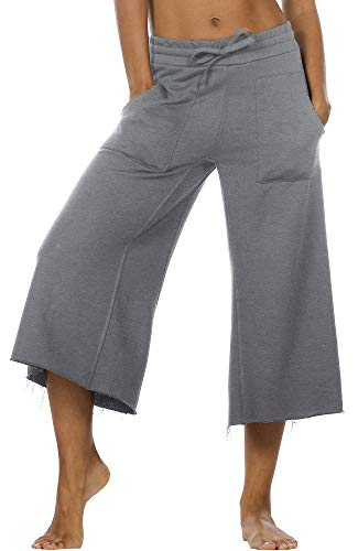 icyzone Damen Lose Weites Bein Hose Elastische Taille Hosenrock Capri Pants Freizeithose (L, Dunkelgrau)