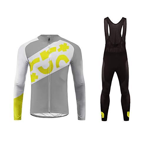 Uglyfrog Homme Combinaison Cycliste Maillot de Cyclisme Manches Longues et Cuissard à Pantalons Imperméables avec Respirant 3D Gel Rembourré Séchage Printemps/Automne Style