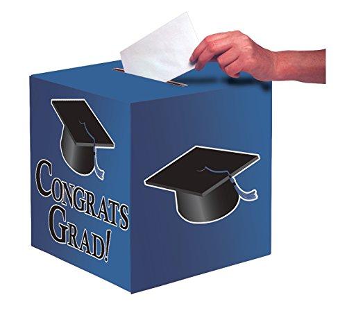 Creative Converting Graduation Card Holder Box, Congrats Grad, True Blue , One size -