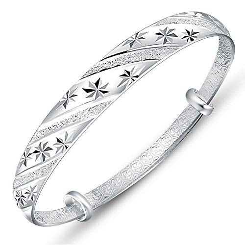 Pulsera de plata esterlina para mujer, joyería de pulsera abierta de push-pull sólida para mujer, regalo del día de la madre, regalo del día de san valentín lluvia de meteoritos amplia