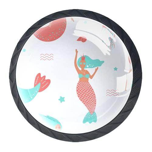 Manijas para cajones Perillas para gabinetes Perillas Redondas Paquete de 4 para armario, cajón, cómoda, cómoda, etc., Sirenas Medusas Turquesa