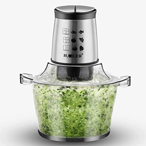 HAE GER Multi-Zerkleinerer Elektrisch 500 W mit 4 Blade, Mini Universalzerkleinerer mit 1.5L Glasbehälter, Multifunktion mixer mit 2 Geschwindigkeitsstufen für Fleisch Obst Gemüse und Babynahrung