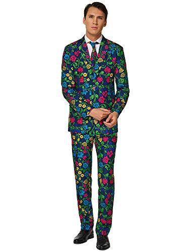 Suitmeister Herren Men Suit Business-Anzug Hosen-Set,Floral,XL