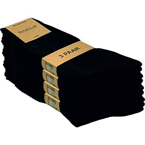 GAWILO 12 Paar Natur-Baumwollsocken – Damen & Herren – 100prozent reine Baumwolle – ohne Naht (39-42, schwarz)