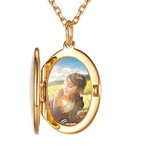 SILVERCUTE Damen Foto Gravur Kette 925 Silber 18k vergoldet personalisiert Oval Medaillon zum Öffnen mit Rolokette Bilder Amulett Schmuck für Mädchen einziges