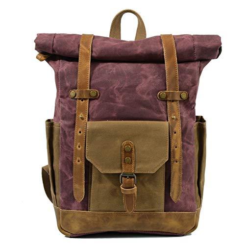 Backpack Retro Hit Color Oil Wax Waterproof Canvas Travel Backpack Computer Bag Large Capacity Outdoor Ladies Shoulder Rucksack (Color : Claret)