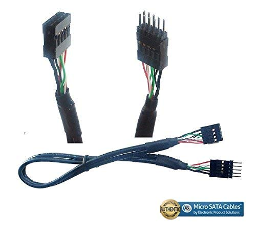 Micro SATA Cables USB 2.0 10 Pin Male to Female Internal Motherboard Extension Cable - 16 Inches