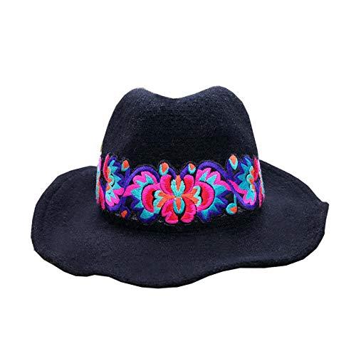 Estilo étnico Sombrero de Lana Bordado Señoras Bordado Turismo Turismo Viajes a Prueba de Sol Sombrilla De Pescador Sombrero Pescador-Metro_Sombrero Negro [remellar]