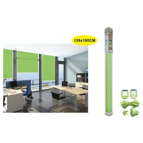 REAL STAR Estor Enrollable translúcido Liso (Verde, 135x180cm)