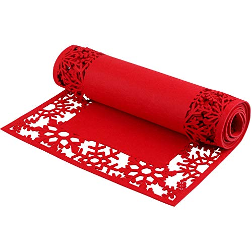 ADXCO Christmas Felt Table Runner Red Snowflake Hollow Out Design Tablecloth Christmas Party Table Runner Winter Table Decoration