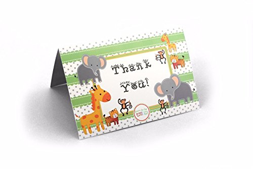 Jungle Safari Animal Theme Baby Shower Birthday Party Thank You Cards – 24 Pack