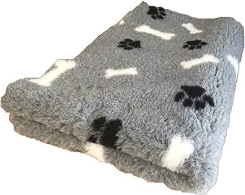 Topmast Vet Bed XXL Hundedecke Doppelpack grau mit Knochen Rutschfest 150/100 maschinenwaschbar