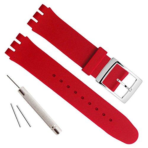 Versilberte Edelstahlschnalle mit wasserdichtem Uhrenarmband aus Silikonkautschuk (17mm, Red)