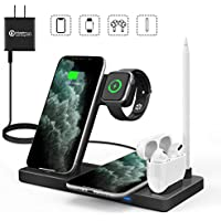 Waitiee 5 in 1 Qi Wireless Charging Station for Apple Watch (Black)