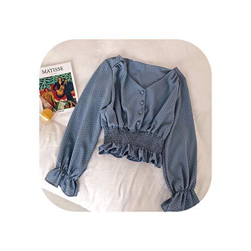 Bluse für Damen, kariert, V-Ausschnitt, ausgestellte Ärmel, gepunktet, mit Knöpfen vorne, schlanke Taille, Rüschen Gr. X-Large, blau