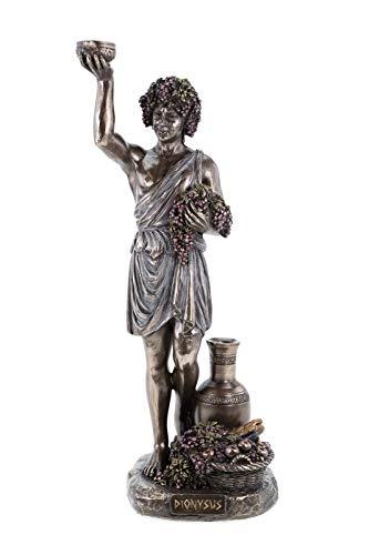 Veronese 708-7406 Griechischer Gott des Weines Dionysos hält Weintrauben bronziert Figur