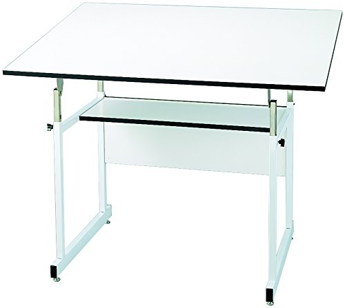 "Alvin, WorkMaster Jr., WMJ48-4-XB, 4-Post Table, White Base with White Top - 36"" x 48"""
