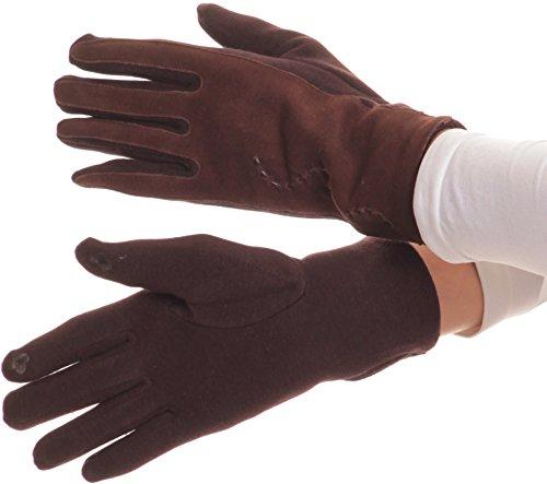 Sakkas 16164 - Pelle Lidy ricamati confortevoli neve calda Touch Screen i guanti - Brown - L/XL