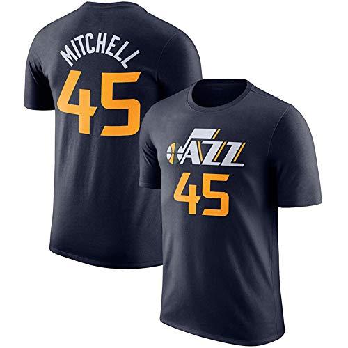 Camiseta De La NBA para Hombre, Utah Jazz # 45 Donovan Mitchell NBA Basketball Manga Corta, Nueva Temporada Camiseta Deportiva De Baloncesto Transpirable,Black b,S